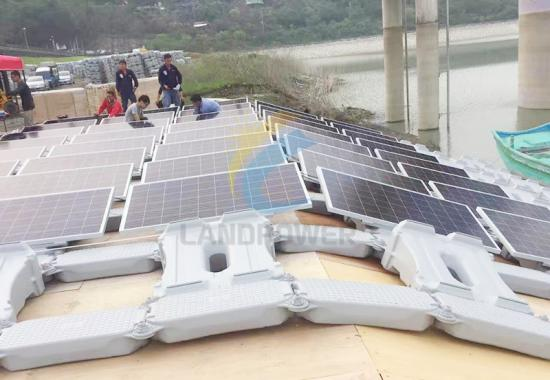 Floating solar panel mounting